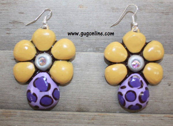 Polymer Clay Earrings Dangle Purple Flowers