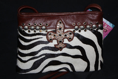KurtMen Designs OL Black and White Zebra Hide with Croc Skin Fleur de Lis and Brown Crystals
