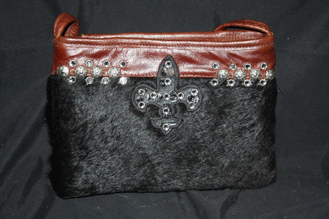 KurtMen Designs OL Black Hair on Hide with Black Fleur De Lis adorned with Clear Crystals