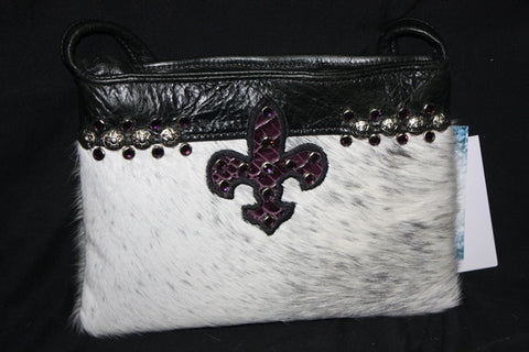 KurtMen Designs  White Hair on Hide with a Touch of Black with Purple Croc Skin Fleur de Lis in Center