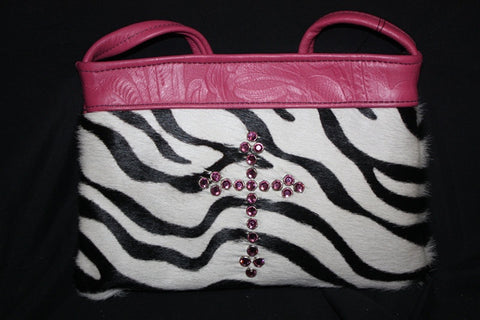 KurtMen Designs OL Black and White Zebra with Pink Hand Tooled Top Band and Pink Crystal Cross