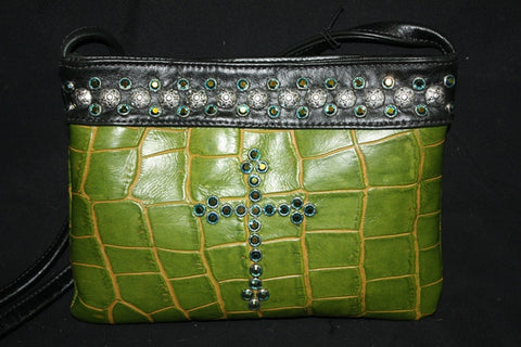 KurtMen Designs OL Lime Green Croc with Black Band and Blue and Green Crystal Cross