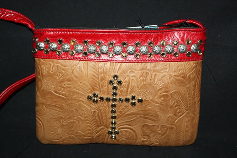 KurtMen Designs OL Brown Tooled Leather with Topaz Cross