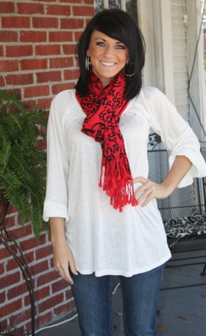 Red with Black Damask Print Winter Scarf