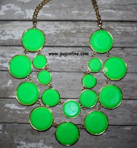 Double Circle Necklace in Lime