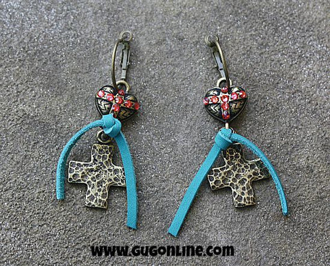 Pink Panache Brass Heart and Cross Earrings with Coral Crystals and Turquoise Leather Accent