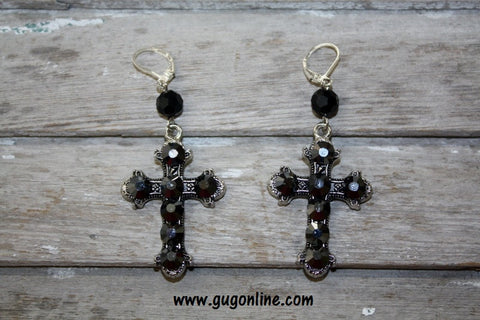 pink Panache Black Irridescent Crystals on Silver Cross Earrings