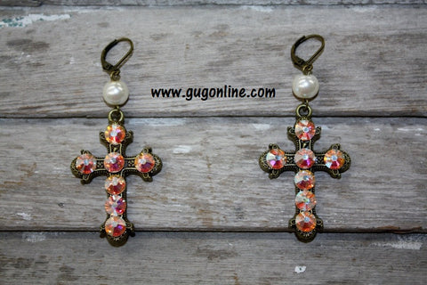 Pink Panache AB Crystals on Gold Cross Earrings