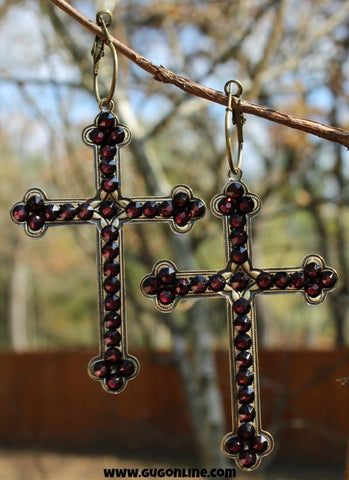 Pink Panache Large Bronze Cross Earrings with Maroon Crystals