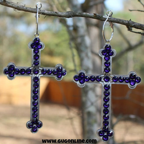 Pink Panache Large Silver Cross Earrings with Purple Crystals