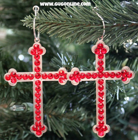 Pink Panache Large Silver Cross Earrings with Red Crystals