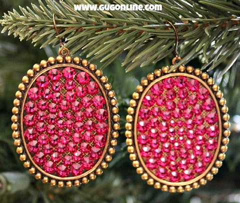 Pink Panache Bronze Oval Earrings with Solid Fuchsia Crystals