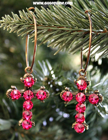 Pink Crystals on Small Bronze Cross Hoop Earrings