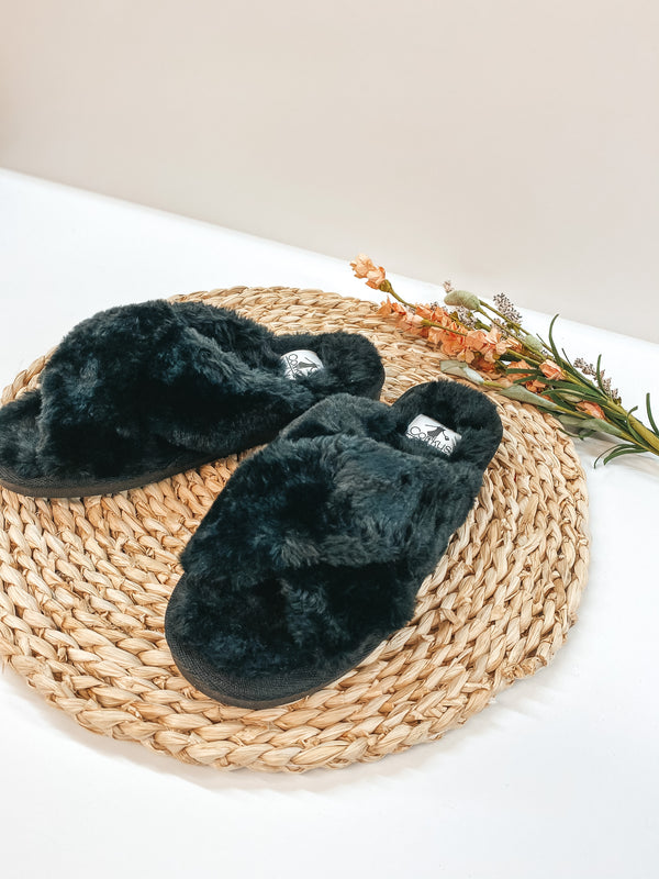 Corky's | Slumber Criss Cross Slide On Furry Slippers in Black