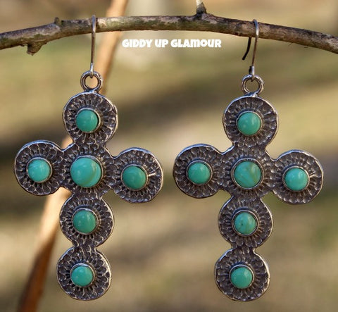 Silver Cross Earrings with Turquoise Studs