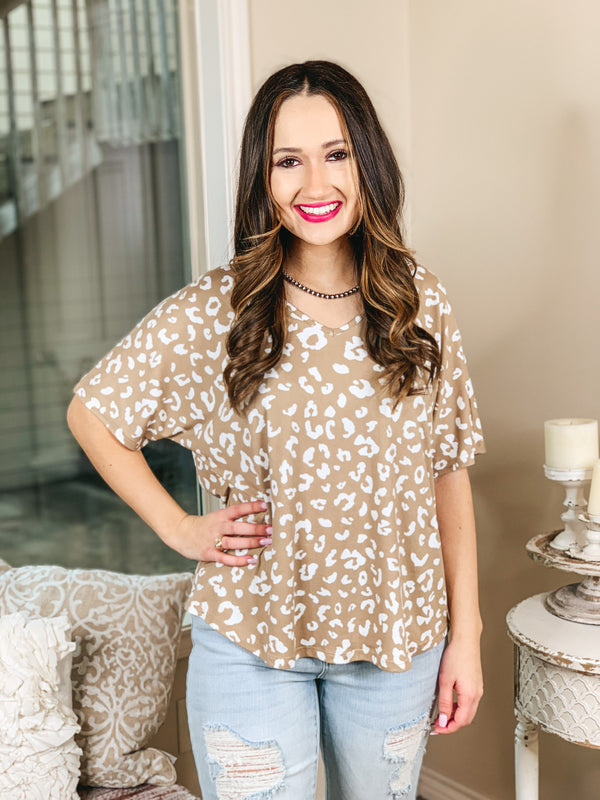 Catching Flights Leopard V Neck Shift Top in Latte and Ivory