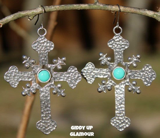 Boho Chic Jewelry Silver Turquoise Cross Dangle