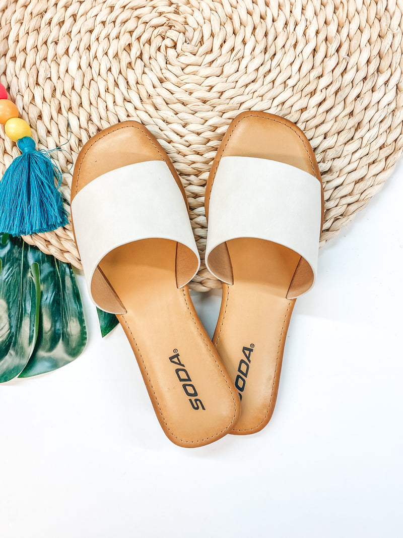 Beach Ready One Strap Square Toe Slide On Sandals in Ivory