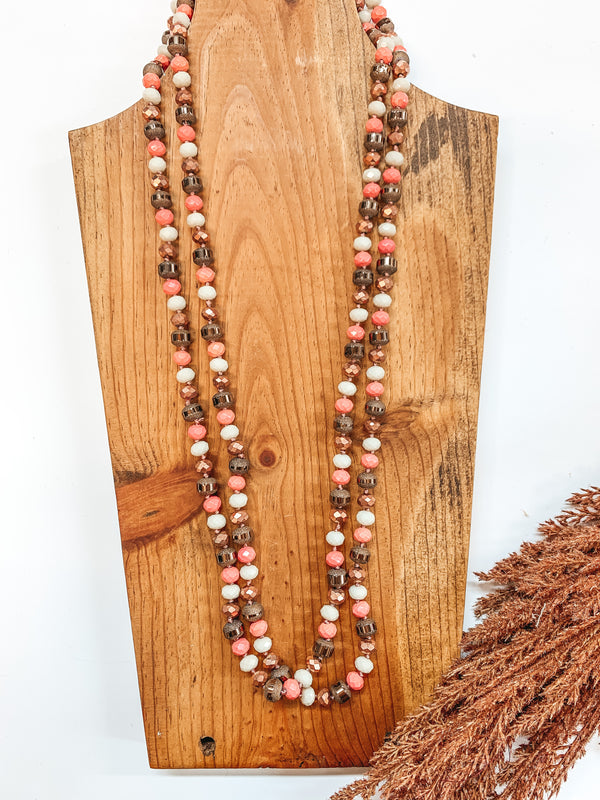 60 Inch Long 8mm Layering Crystal Strand Necklace in Carnation, Ivory, Bronze and Chocolate