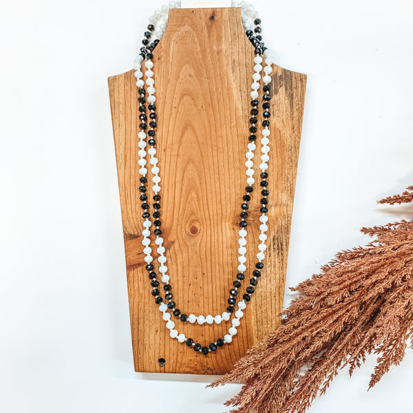 60 Inch Long 8mm Layering Crystal Strand Necklace in Black and White Mix
