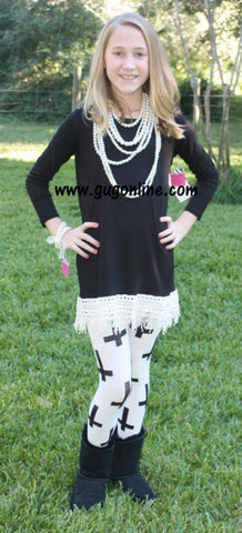 Fabulous in Fringe Children's Tunic Top in Black with Ivory Fringe