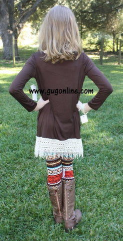 Fabulous in Fringe Children's Tunic Top in Chocolate Brown with Ivory Fringe