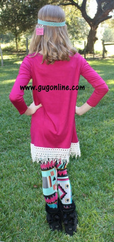 Fabulous in Fringe Children's Tunic Top in Raspberry with Ivory Fringe