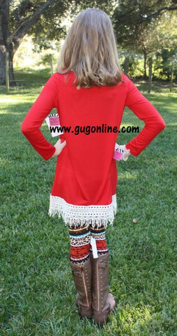 Fabulous in Fringe Children's Tunic Top in Red with Ivory Fringe