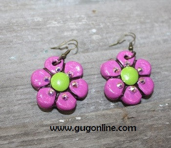 Fiesta Short Dangle Earring Purple with Lime Green Center