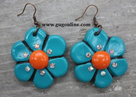 Fiesta Short Dangle Earring Dark Turquoise with Orange Center