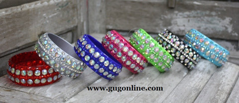 Five Row Crystal Bangle in Assorted Colors in Pink
