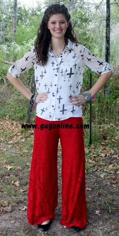 Floating on Cloud Nine Burgundy Lace Pants