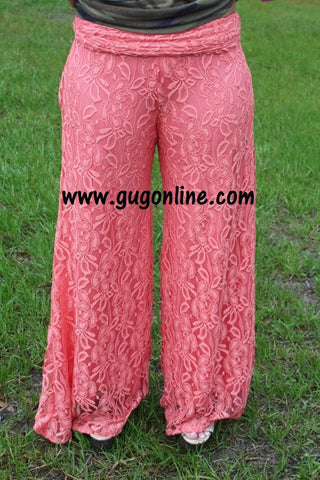 Floating on Cloud Nine Coral Lace Pants