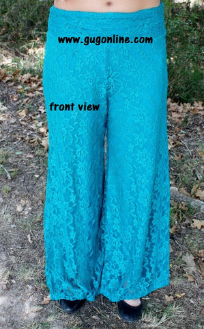 Floating on Cloud Nine Jade Lace Pants