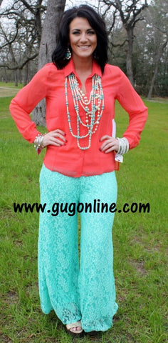 Floating on Cloud Nine Lace Pants in Mint
