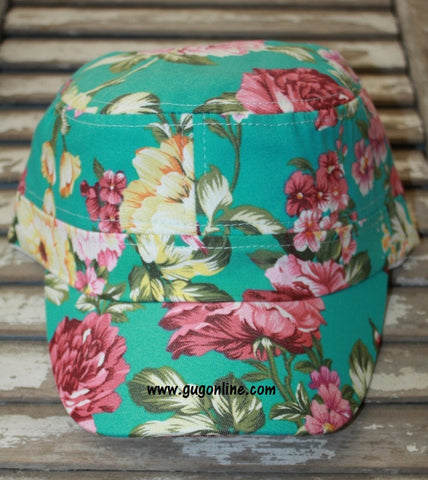 Floral Print Cadet Cap in Turquoise