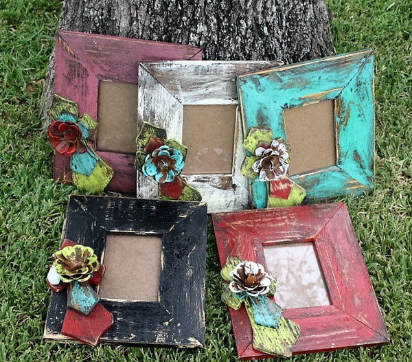 Rustic Handmade Photo Faith Frame with  4 x 6 Opening