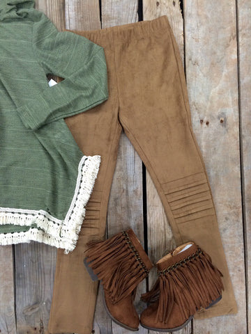 Childrens: Suede Upgrade Tan Moto Leggings