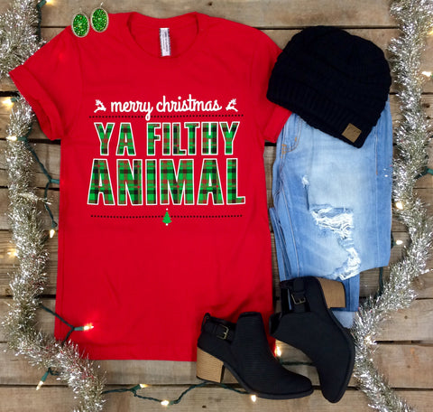 Merry Christmas Ya Filthy Animal Short Sleeve Christmas Tee