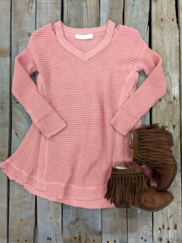 Childrens: Worth The Wonder Knit Cold Shoulder Tunic in Light Pink