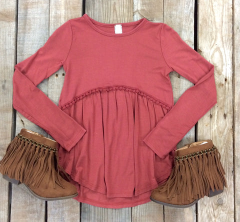 Childrens: Play it Cool Long Sleeve Top in Rust