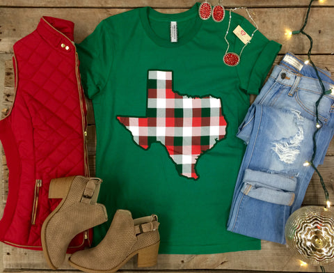Texas Red & Green Gingham Short Sleeve Christmas Tee