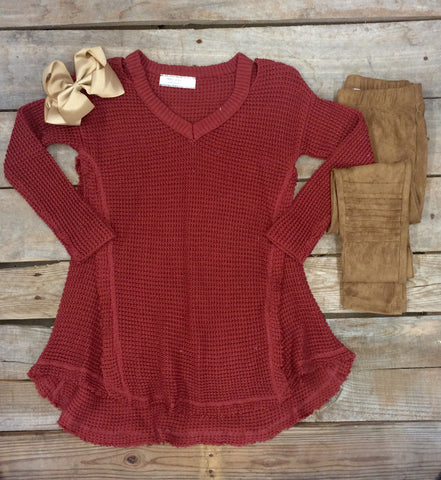 Childrens: Worth The Wonder Knit Cold Shoulder Tunic in Rust
