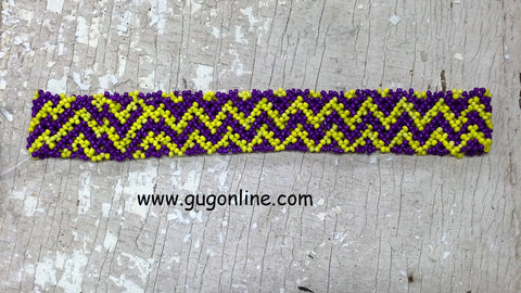 Beaded Headband in Yellow and Purple Chevron