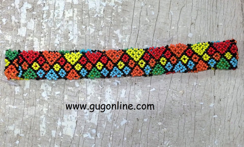Beaded Headband in Multi Colored Diamond