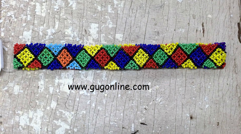 Beaded Headband in Red, Green, and Blue Diamond