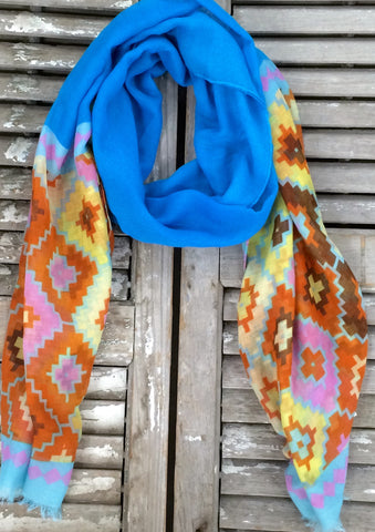 Geometric Aztec Scarf in Blue