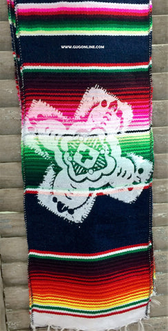 Designed Mexican Serape Print Scarf or Belt with Cross Design