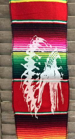 Copy of Designed Mexican Serape Print Scarf or Belt with Chief Design