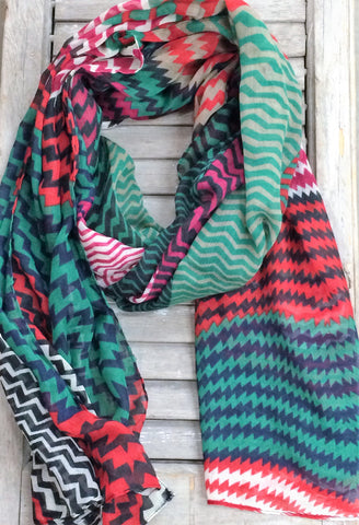 Multi Colored Chevron Print Scarf In Red